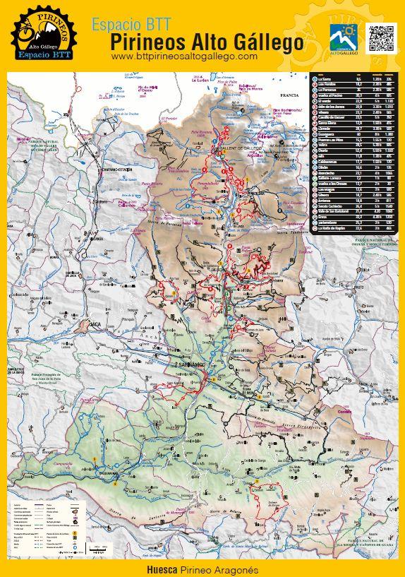 Mapa De Los Pirineos.Espacio Btt Pirineos Alto Gallego Mapa Cartografico Ano